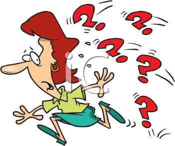 Cartoon of a Woman Running from Question Marks.