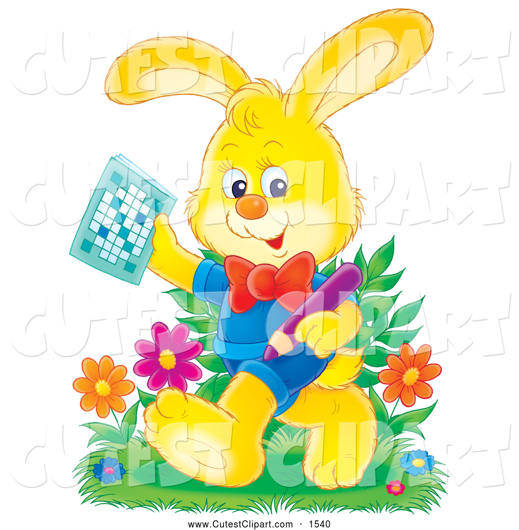 Clip Art of a Happy Yellow Rabbit in Clothes, Holding a Pencil and.