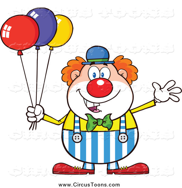 Circus Clipart of a Happy Clown Waving and Holding Colorful.