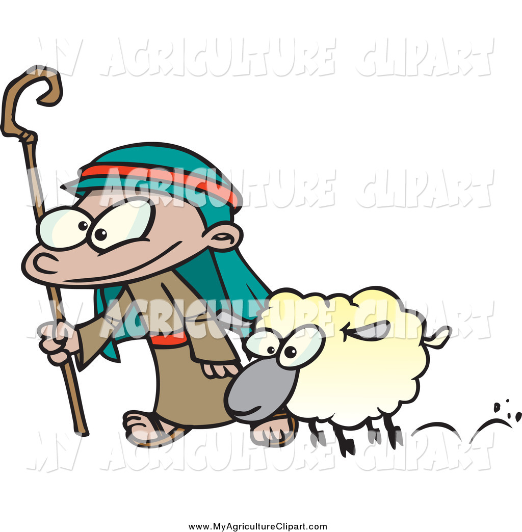 Vector Cartoon Agriculture Clipart of a Cartoon Shepherd Boy and.