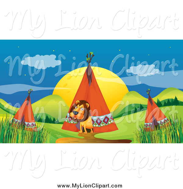 Clipart of a Male Lion Emerging from a Tipi in a Camp by colematt.