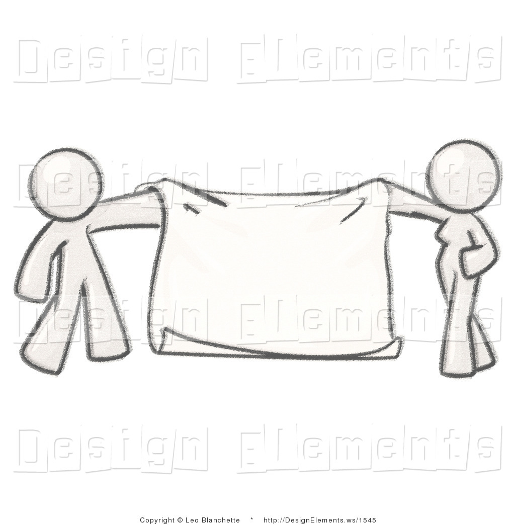 Design Element Clipart of a Sketched Design White Mascot Man and.