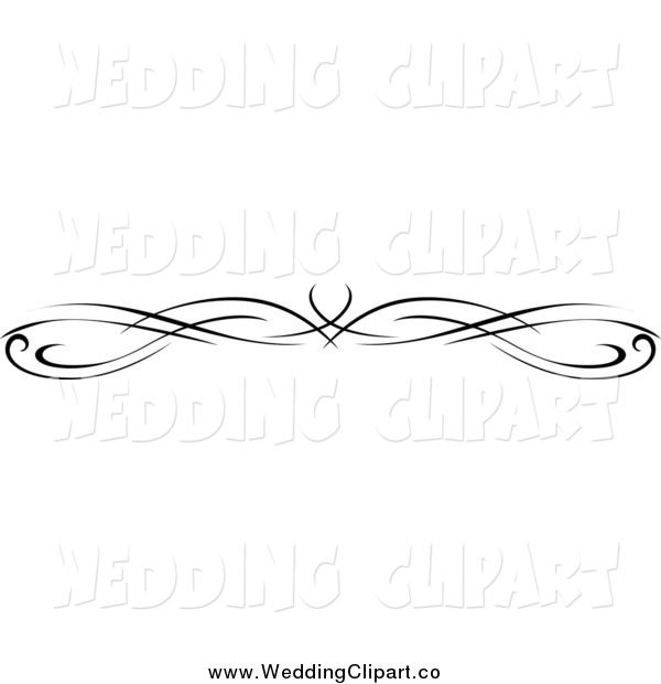 Vector Marriage Clipart of a Black and White Wedding Border Rule.
