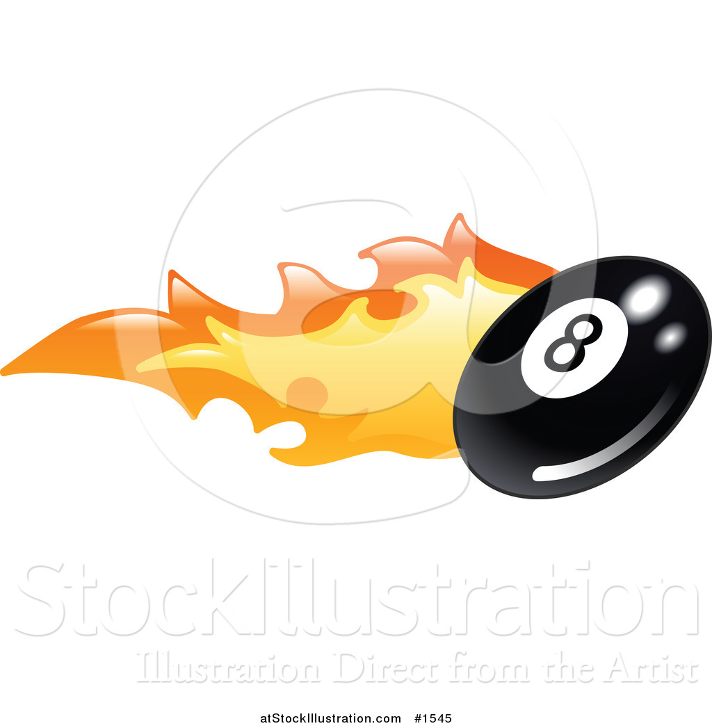 Vector Illustration of a Flaming Eight Ball Flying past by.