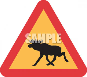Royalty Free Clipart Image: Moose Crossing Road Sign.