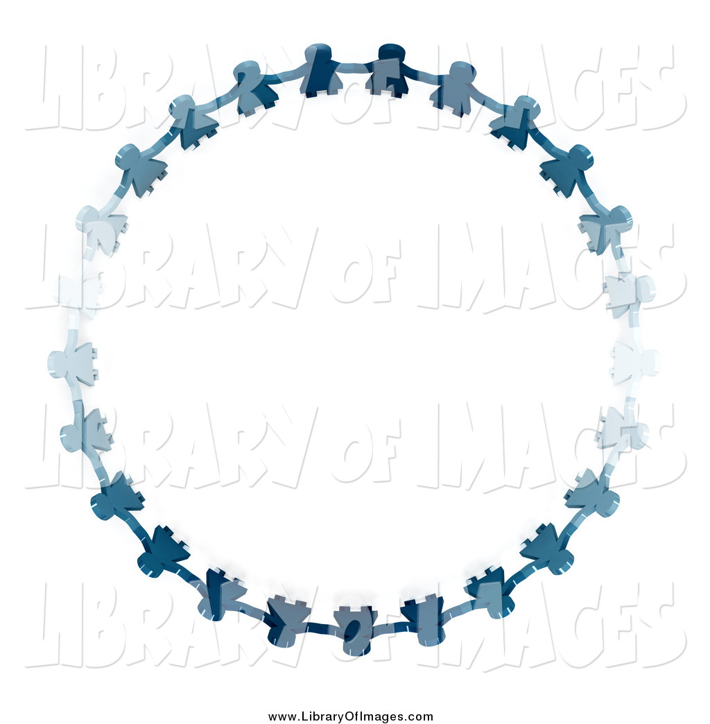 Clip Art of a Blue Paper Doll Circle by Andresr.