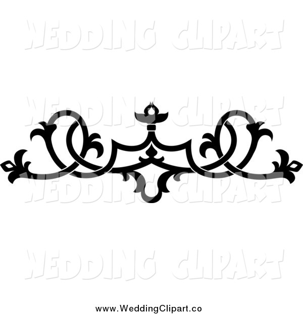 Vector Marriage Clipart of a Black and White Wedding Floral.