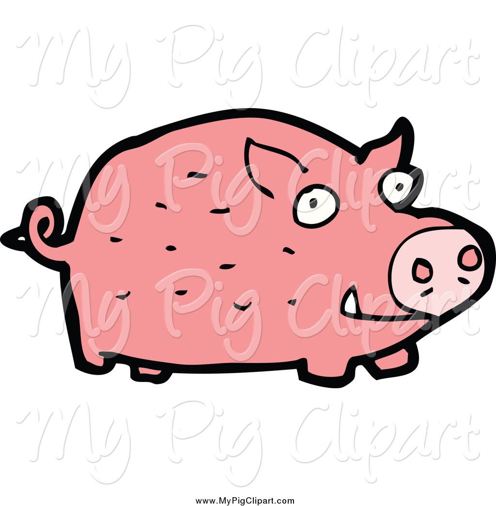 Swine Clipart of a Pink Pig by lineartestpilot.