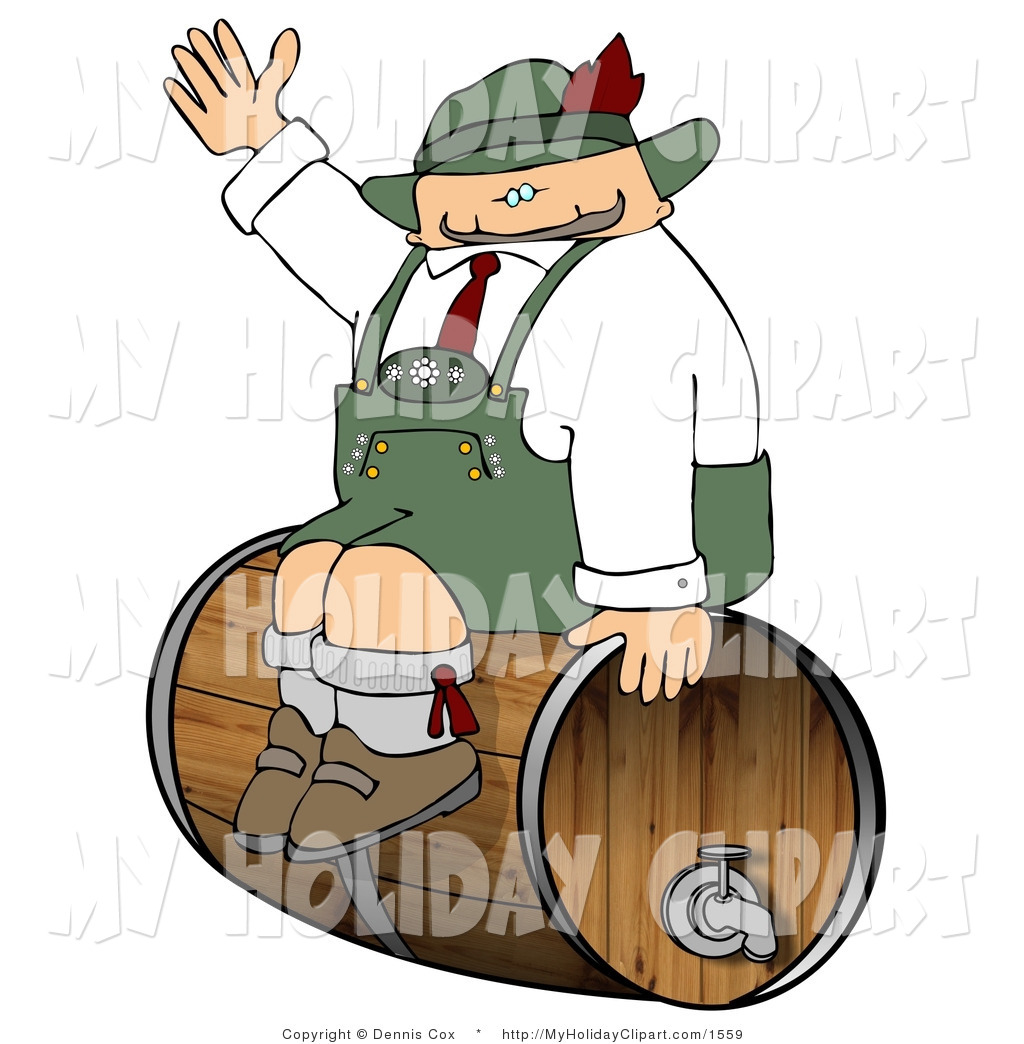 Clip Art of a Pudgy German Man Sitting on a Beer Keg During an.