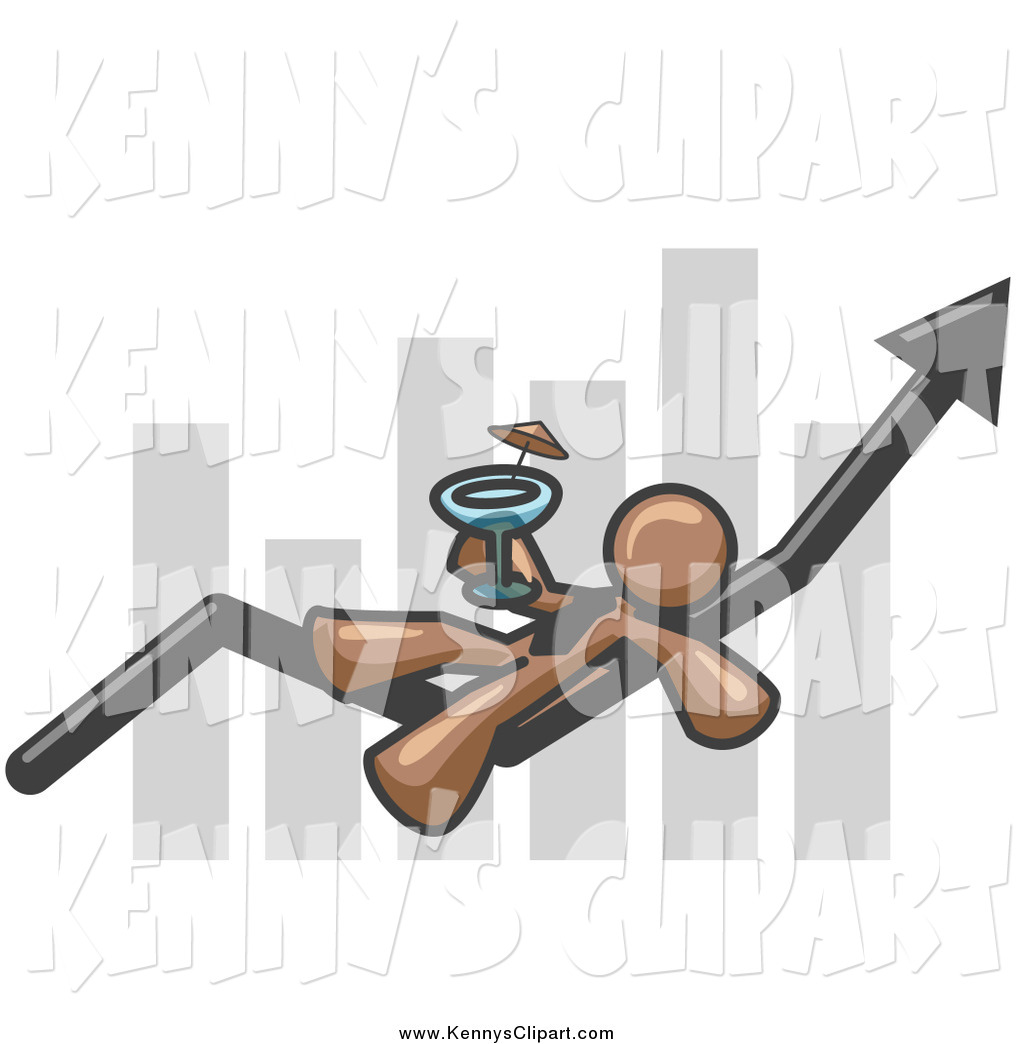 Clip Art of a Brown Business Man Relaxing on an Increase Bar and.