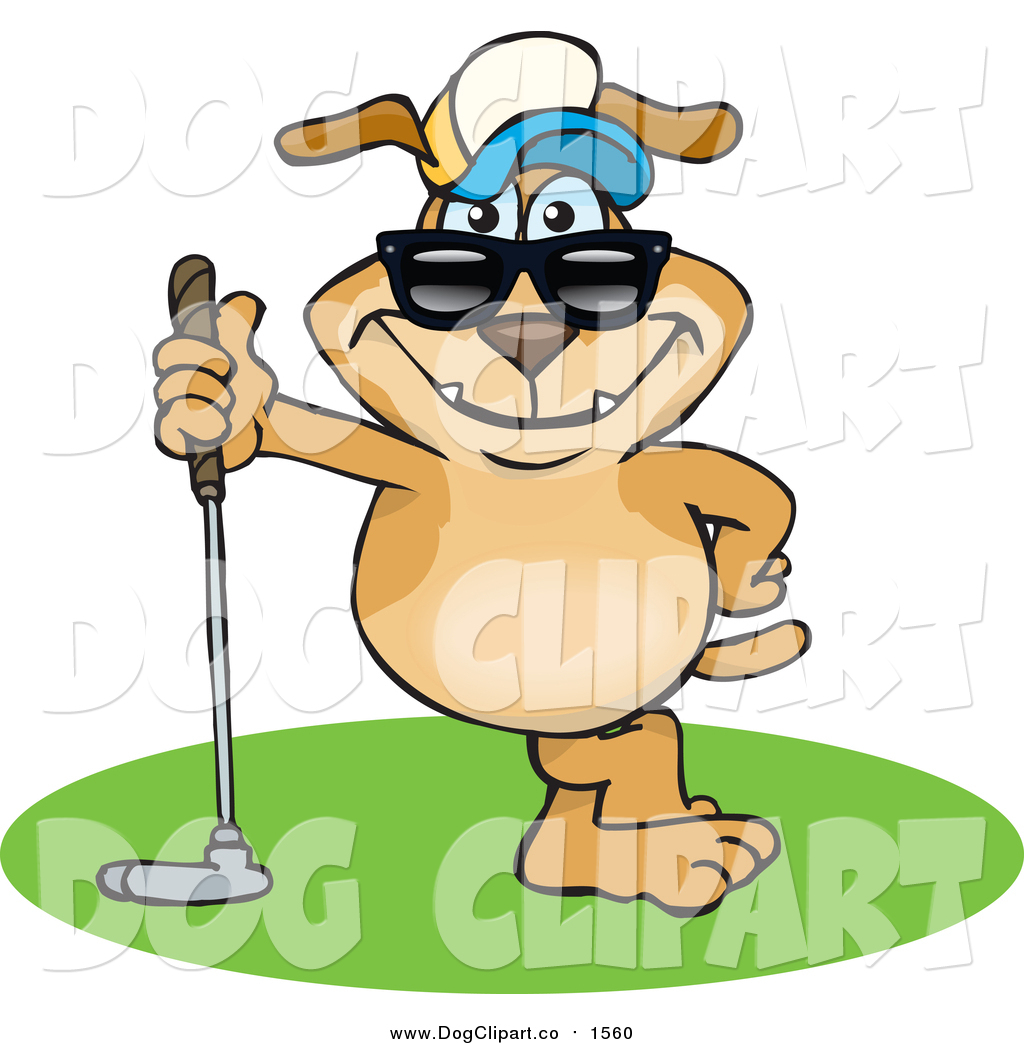 Vector Cartoon Clip Art of a Sporty Dog Leaning on a Golf Club by.