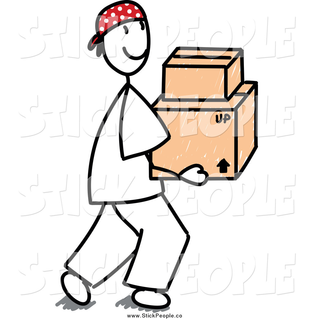 Vector Graphic of a Stick Man Carrying Cardboard Boxes by Frog974.