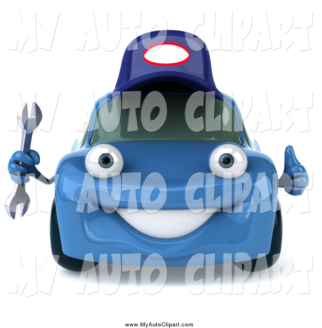 Clip Art of a Blue 3d Porsche Car Facing Front with a Wrench by.