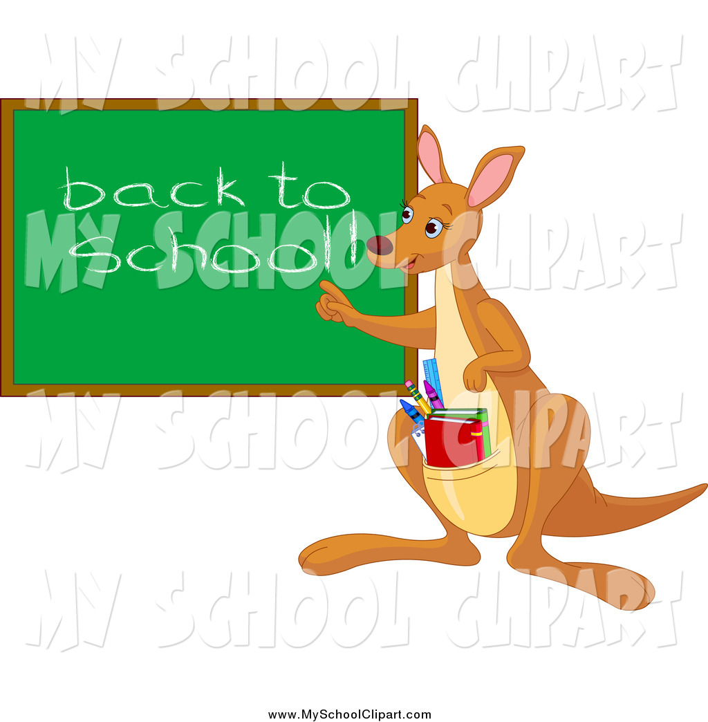 Clip Art of a Teacher Kangaroo with Books in Her Pouch, Pointing.