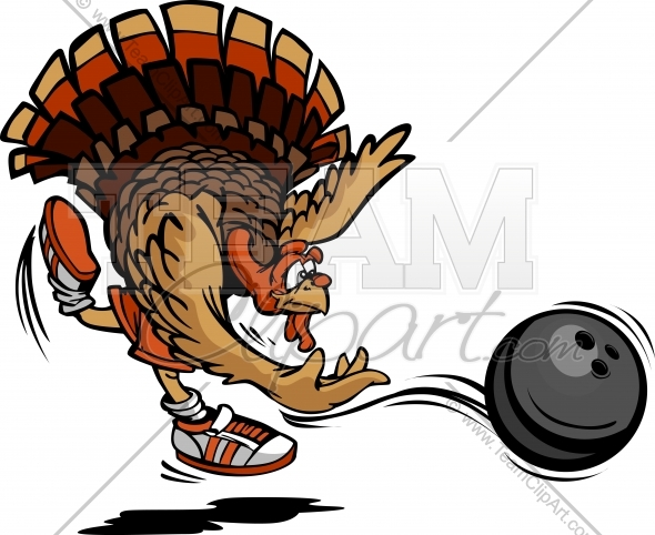 Bowling Thanksgiving Holiday Turkey Cartoon Vector Illustration.