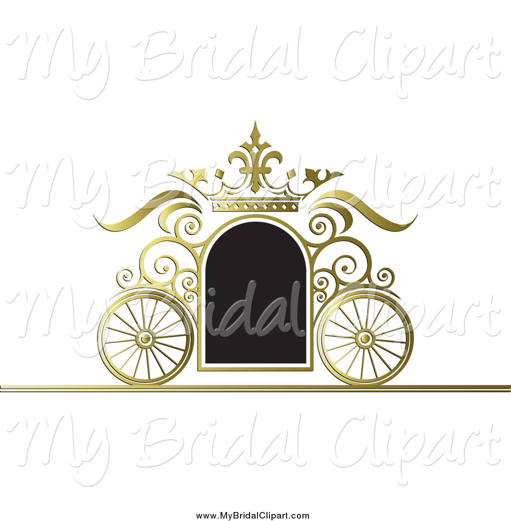 Bridal Clipart of a Black and Gold Wedding Carriage Frame by Lal.