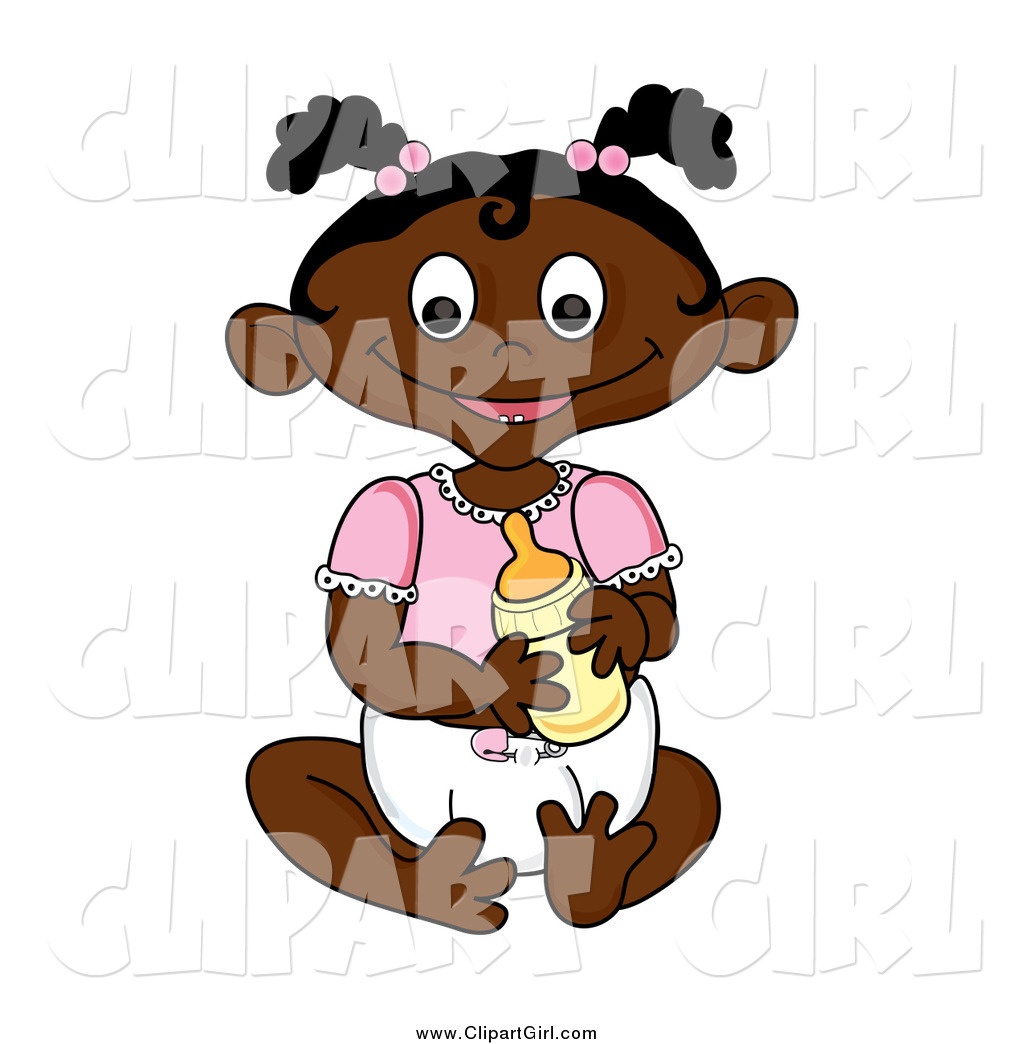 Clip Art of a Happy Sitting Black Baby Girl Holding a Bottle by Pams.