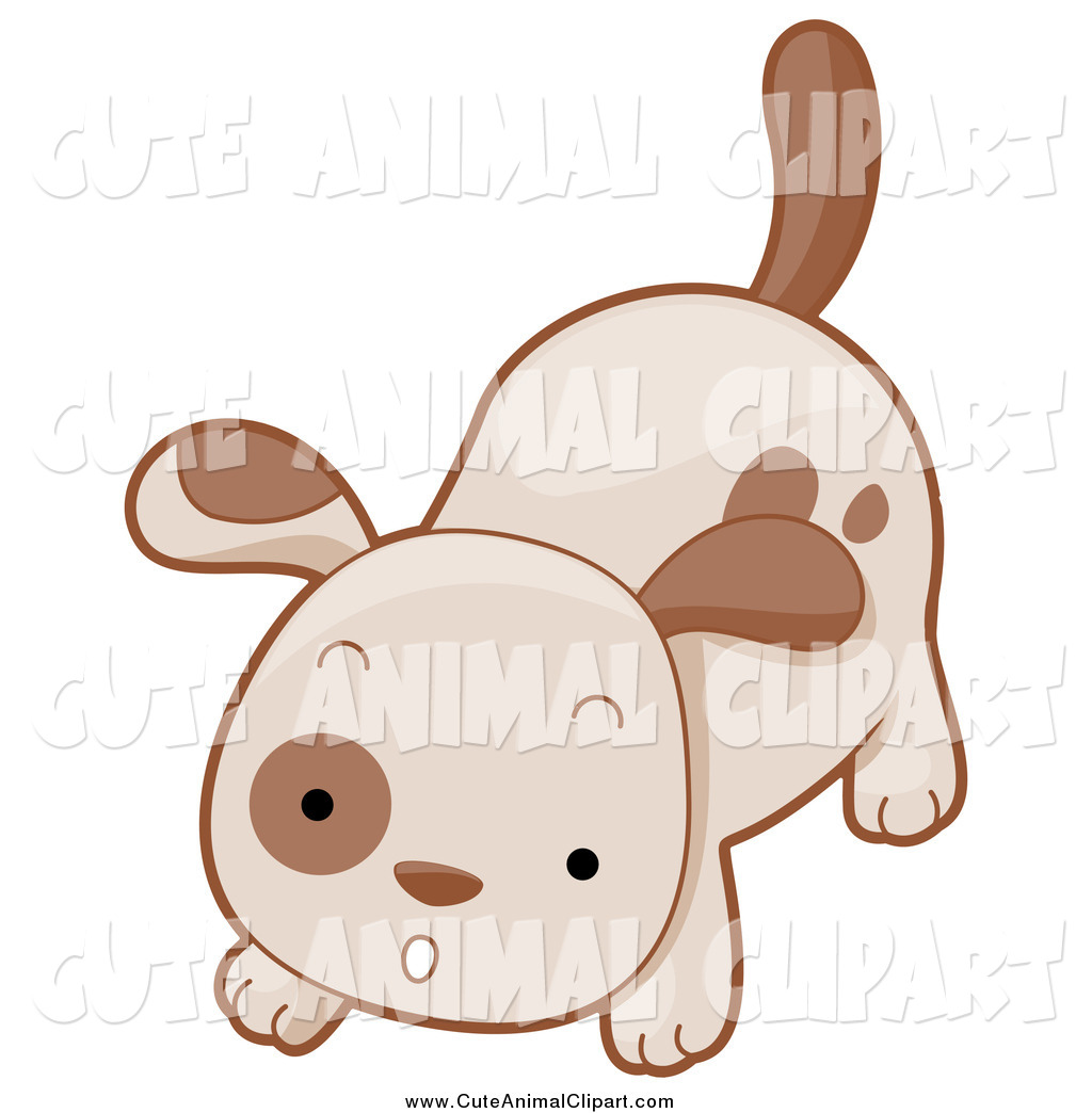 Vector Cartoon Clip Art of a Cute Brown Puppy Barking by BNP.