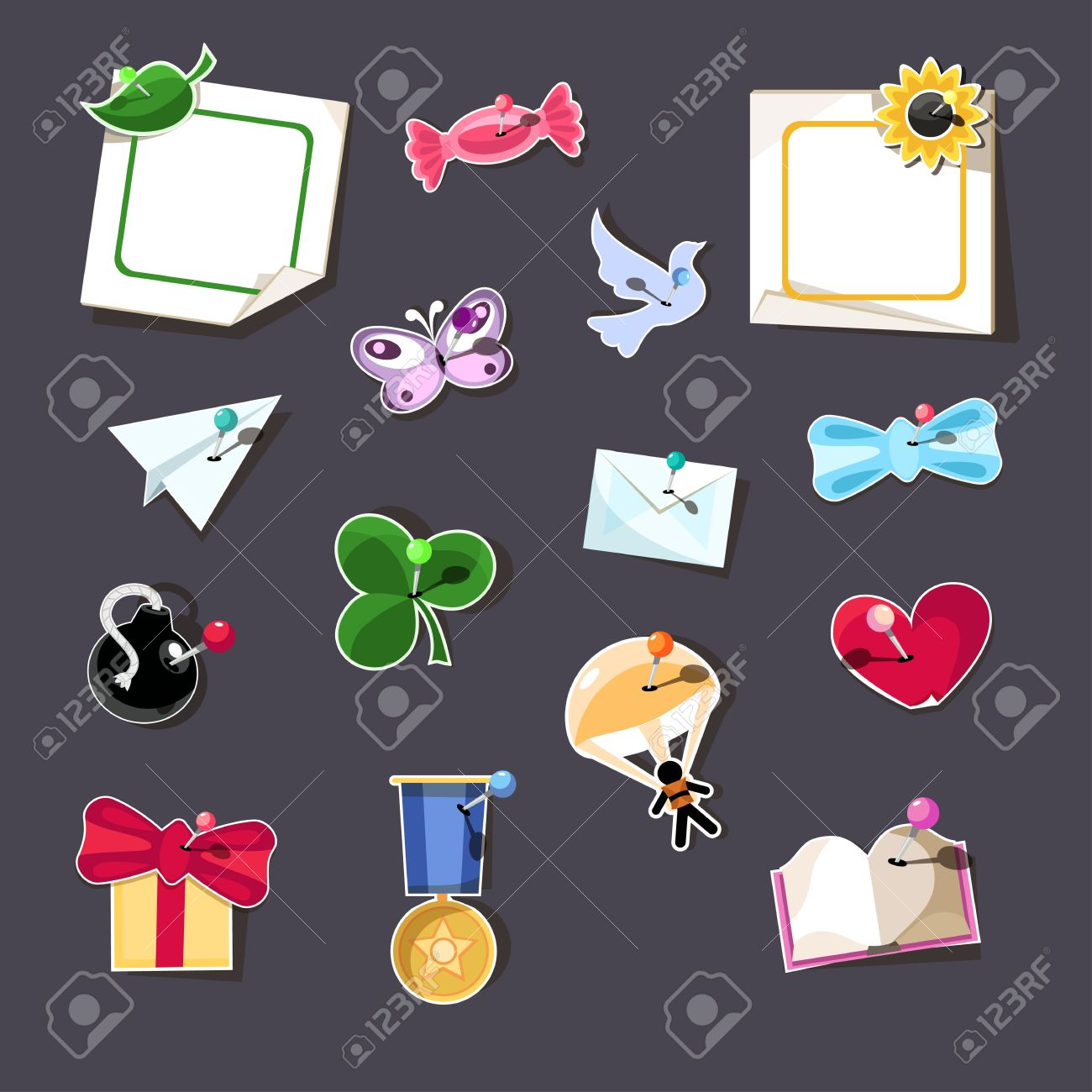 Set Of 15 Design Elements With Pins. Royalty Free Cliparts.