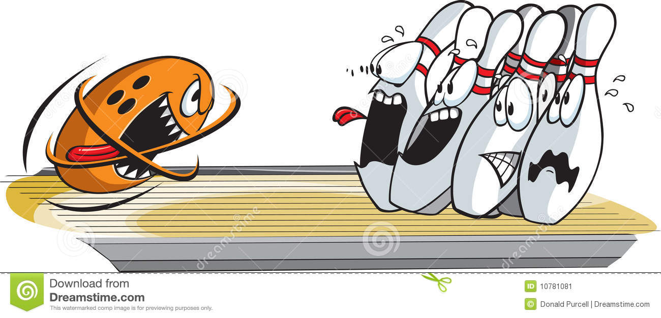 Scared Bowling Pin Clipart.