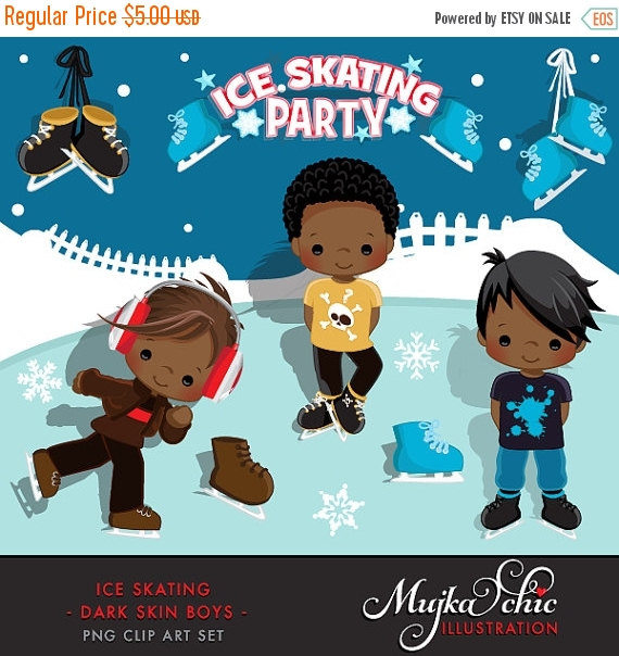 Ice Skating Party Dark Skin Boys Clipart Instant Download by MUJKA.