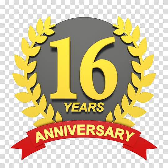 Wedding anniversary , 16 years transparent background PNG.