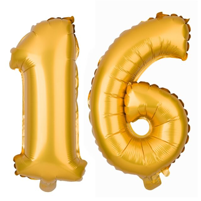 Sweet 16 Number Balloons 40 Inch Balloon Numbers Gold Birthday Party  Decorations.