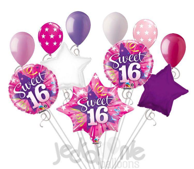 Shining Pink Starburst Sweet 16 Balloon Bouquet.