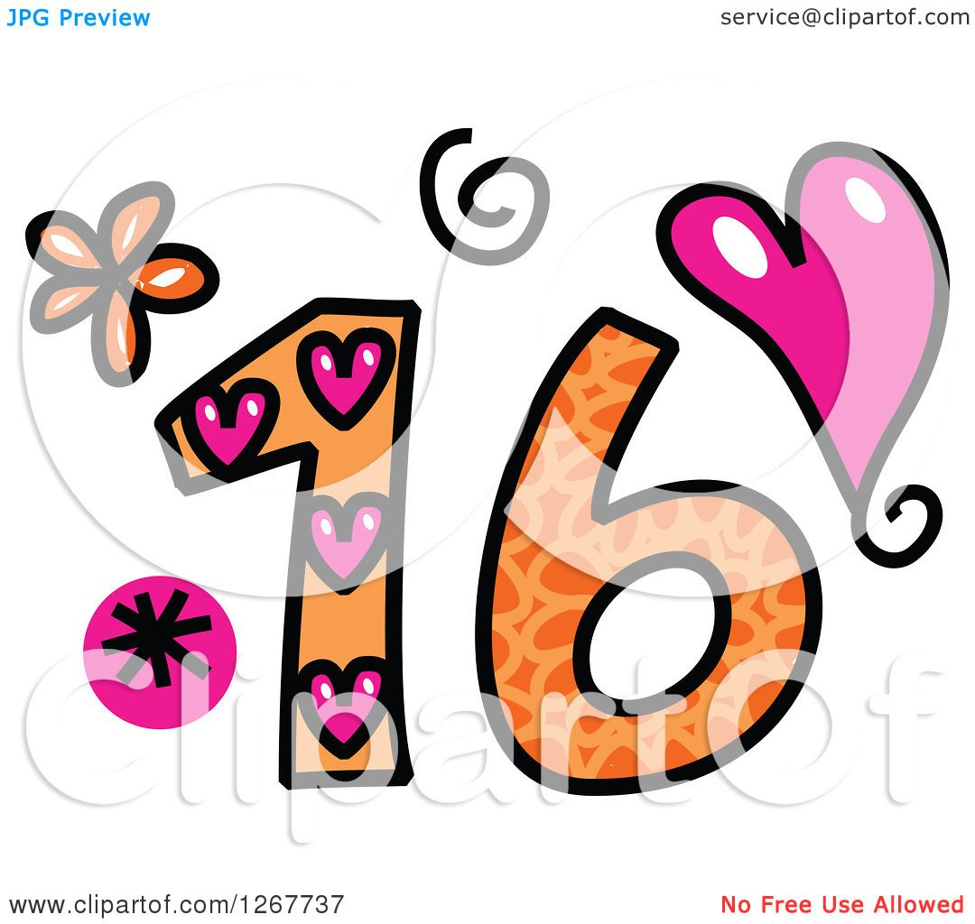 Clipart of a Colorful Sketched Patterned Number 16.