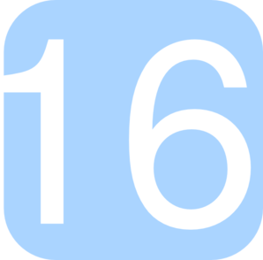 Light Blue, Rounded, Square With Number 16 Clip Art at Clker.