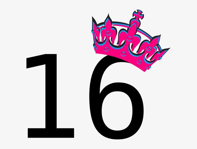 Pink Tilted Tiara And Number 16 Clip Art At Clker Com.