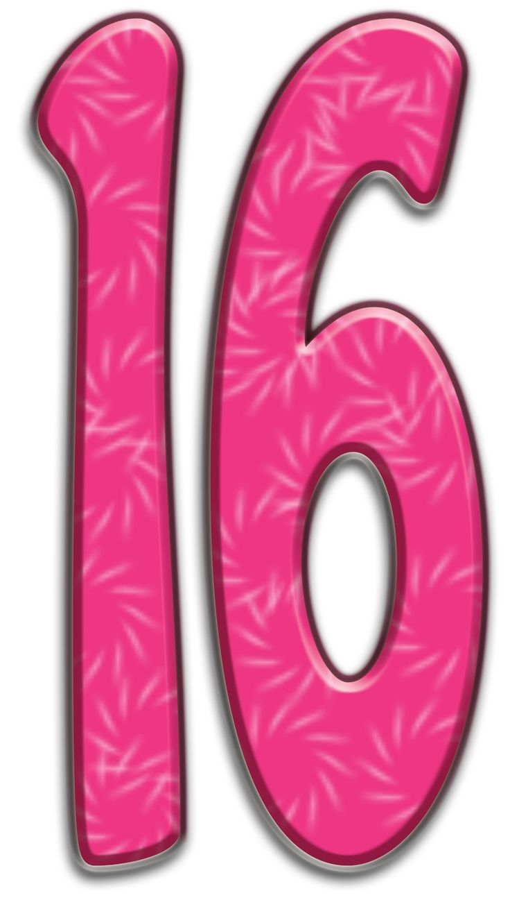 Number Sixteen Clipart.
