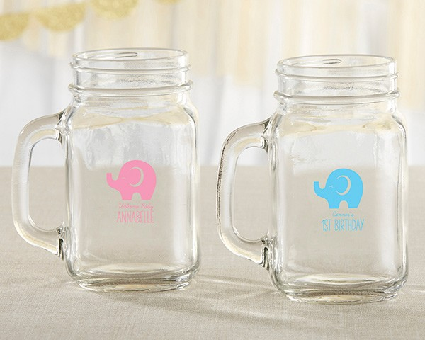 Personalized 16 ounce Mason Jar Mug.