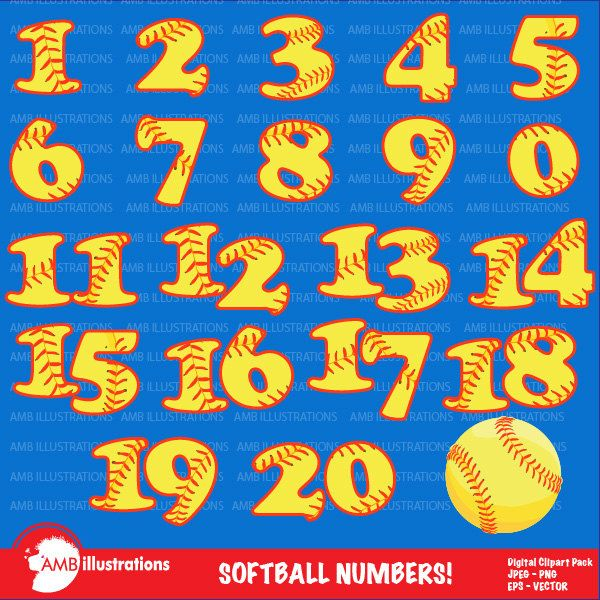 Softball Numbers Clipart, Team Numbers, Sports Clipart.