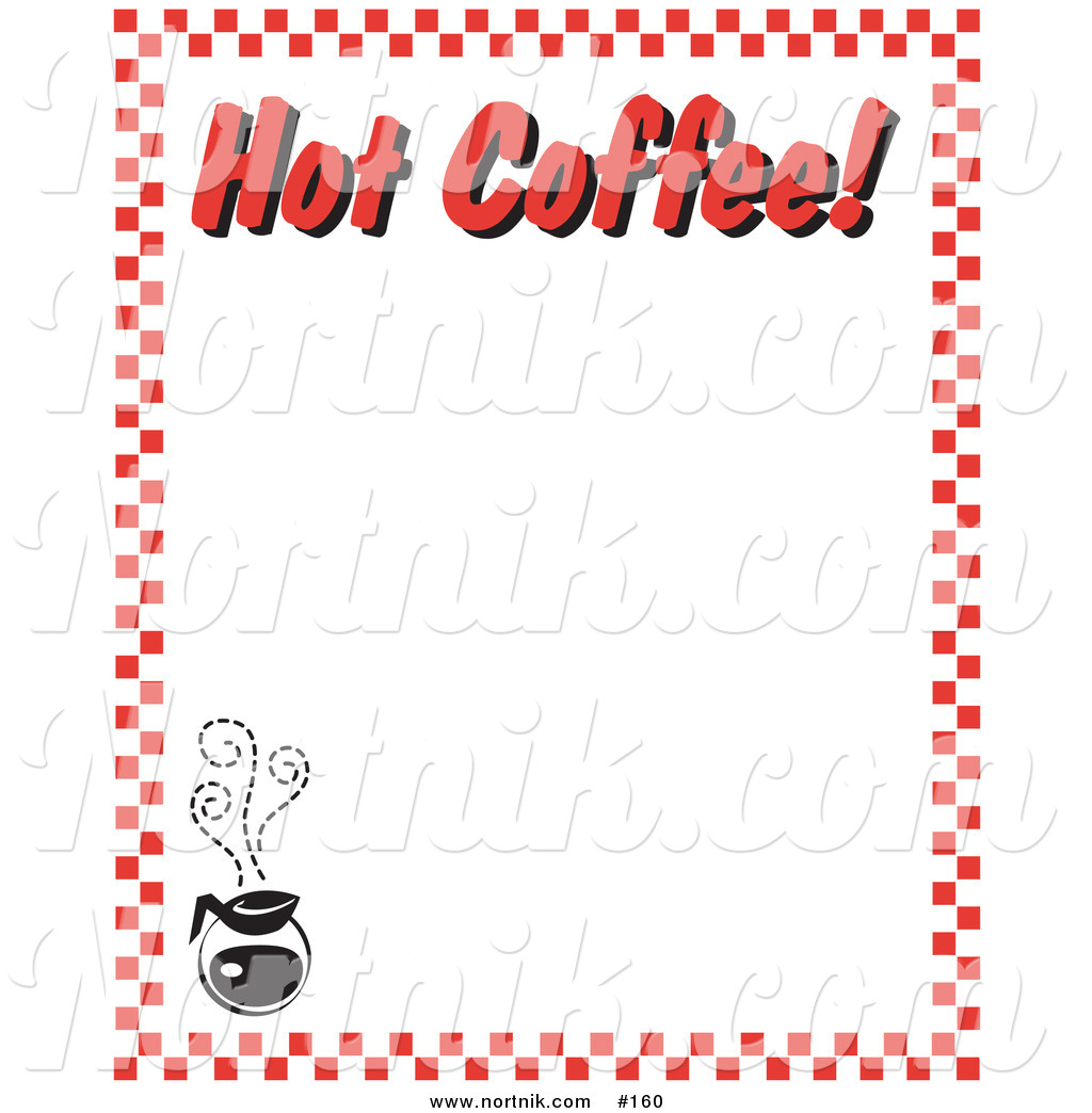 Clipart of Hot Coffee Restaurant Menu Border by Andy Nortnik.