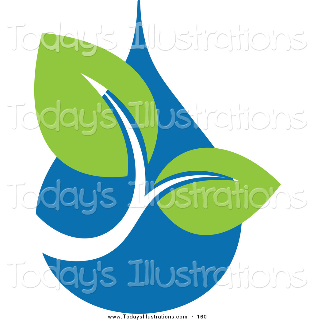 Clipart of a Pair of Green Leaves over a Blue Water Drop Ecology.