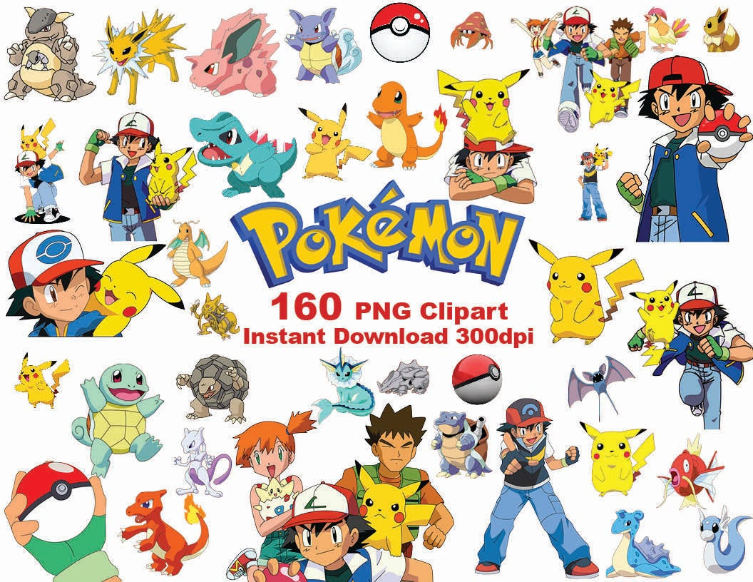 INSTANT DL 160 PNG Pokemon Clipart printable Digital.