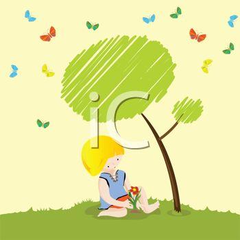 Small Boy Sitting Under a Tree.