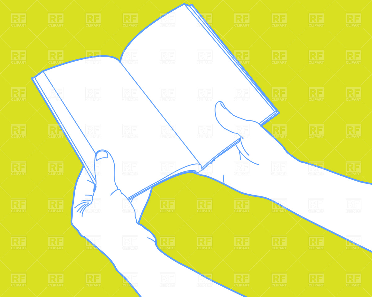 Hands holding open book Vector Image #1610.