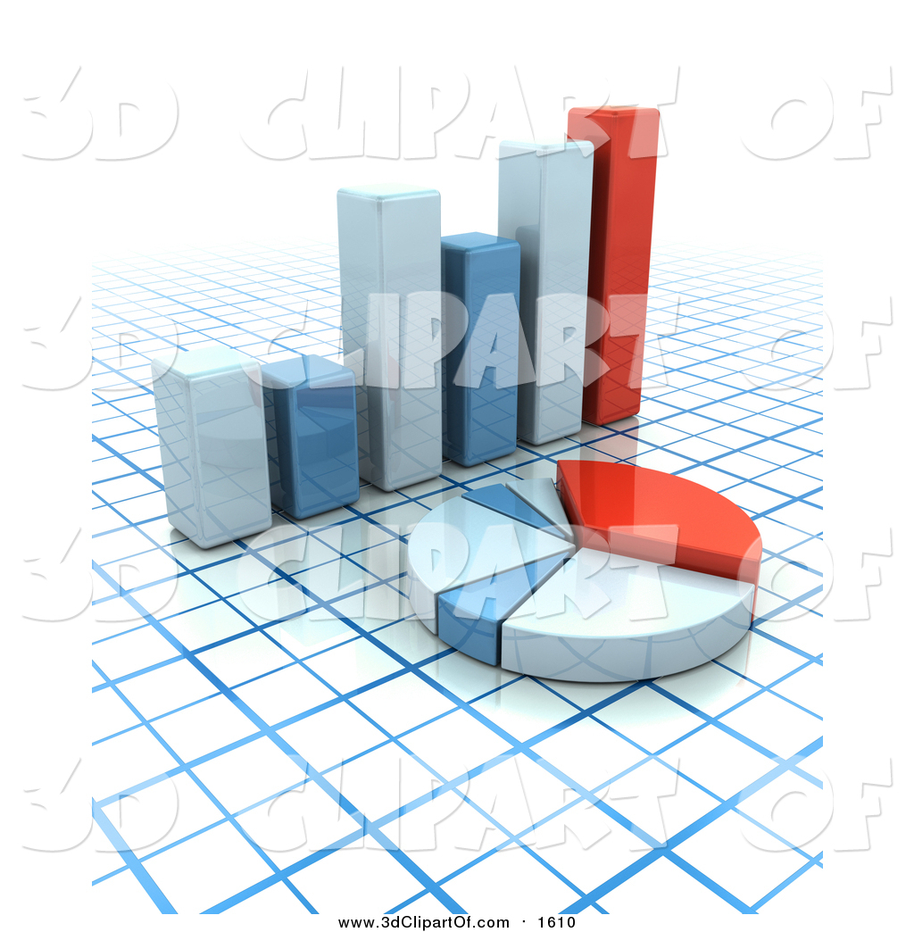 Clip Art of a 3d Matching Bar Graph over a Grid Background by KJ.