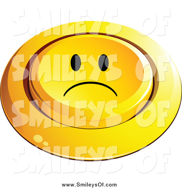 Vector Clipart of a 3d Pushed Sad Smiley Button by beboy.