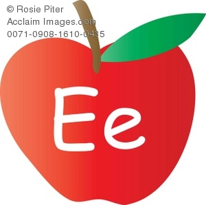 Clip Art Illustration Of An Apple With The Letter E Written On It.