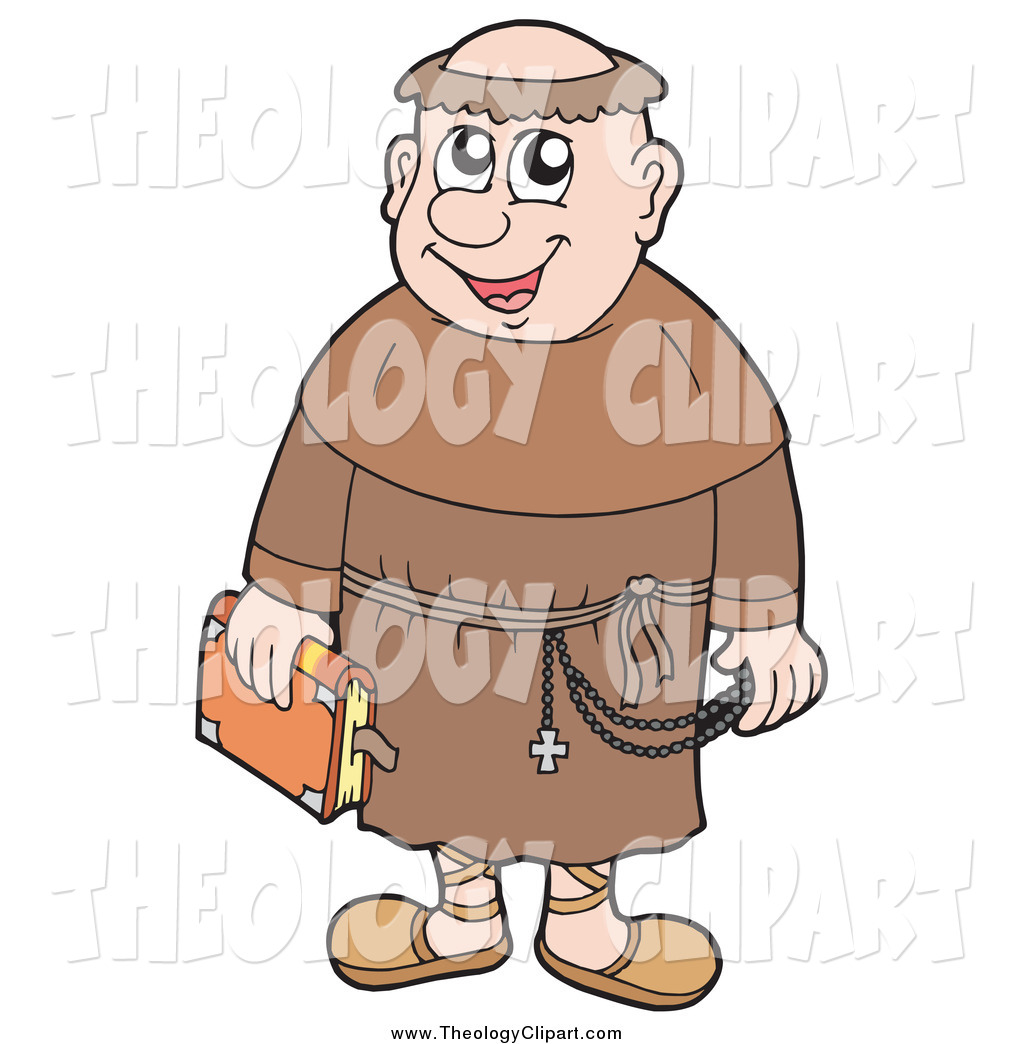 Clip Art of a Happy Monk Carrying a Bible by visekart.