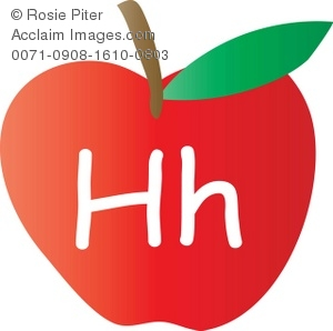 Clip Art Illustration Of An Apple With The Letter H Written On It.