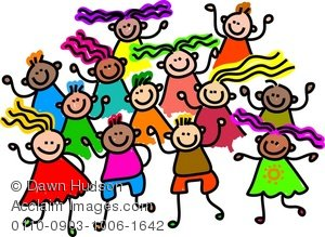 Clipart Illustration of a Group of Happy and Diverse Children.