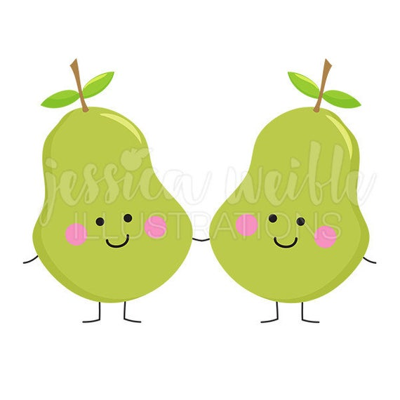 Perfect Pear Cute Digital Clipart, Pear Characters Clip art, Fruit.