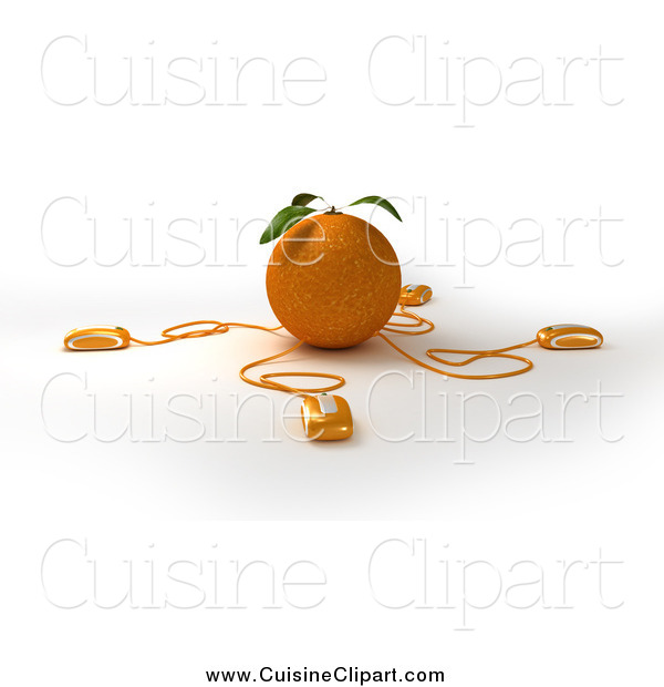 Cuisine Clipart of 3d Computer Mice Wired to an Orange by Frank.