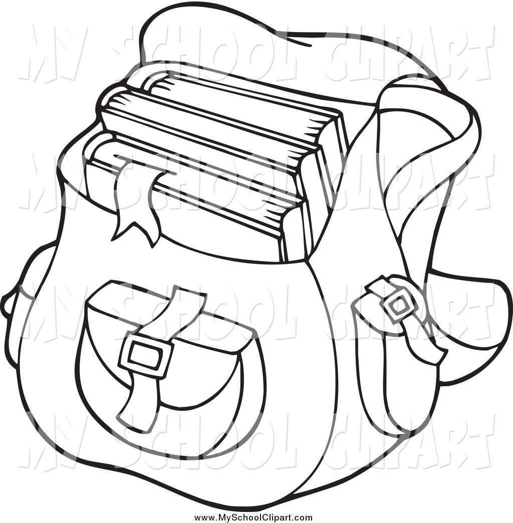 Clip Art of a Black and White Backpack School Bag by visekart.