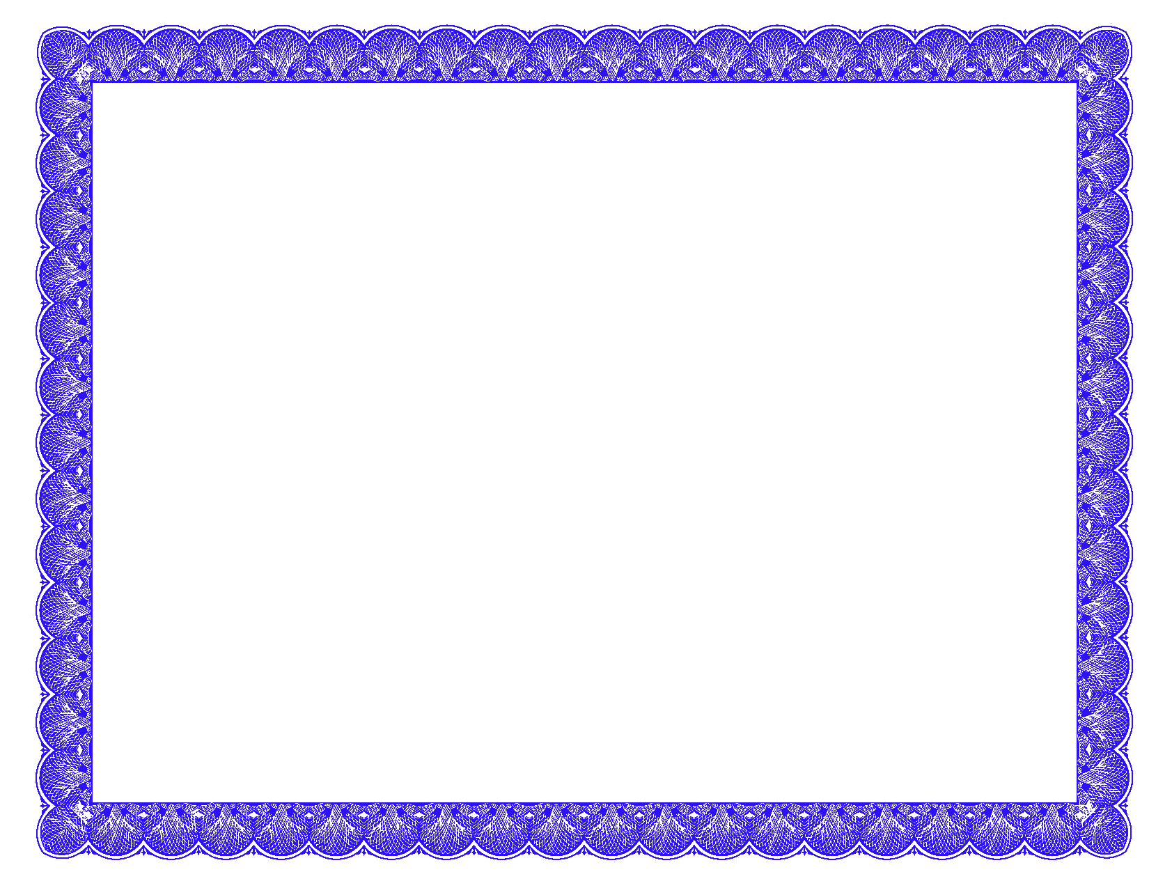 Blue certificate border clipart.