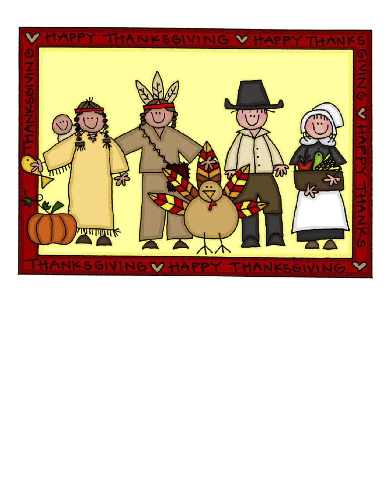 First Thanksgiving Feast Clipart.